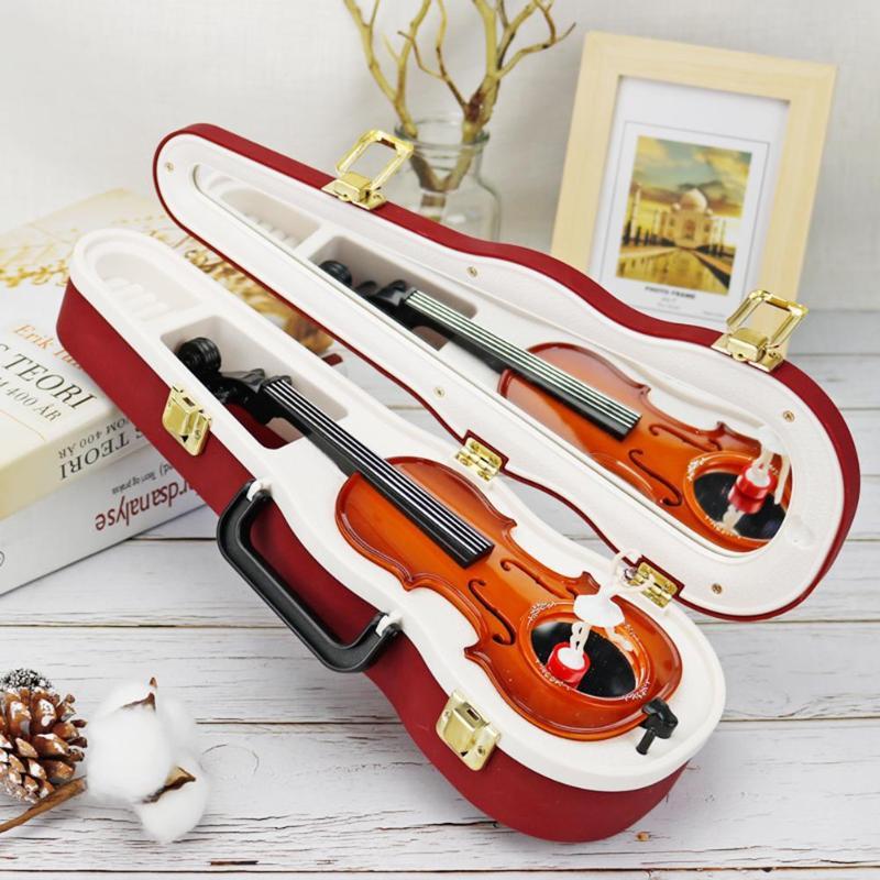 Large Violin Model Music Box Ornaments Rotate Dancing Ballerina Girl Music Box Desktop Crafts Home Decor Birthday Gifts