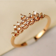 Trendy Crystal Crown Ring Princess Queen Wedding Love Hollow Fine Jewelry for Lovers' Birthday Gift Gold Color Engagement Ring цена в Москве и Питере