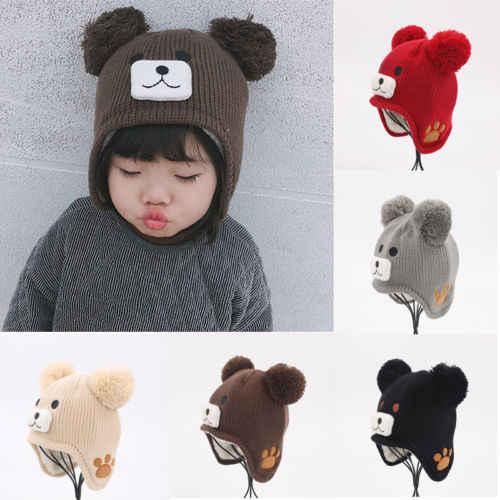 0ad373b7a26 2019 Brand Fashion Newborn Hats Knitted Warm Bear Round Machine Cap  Protects Ear Bonnet Baby Pom