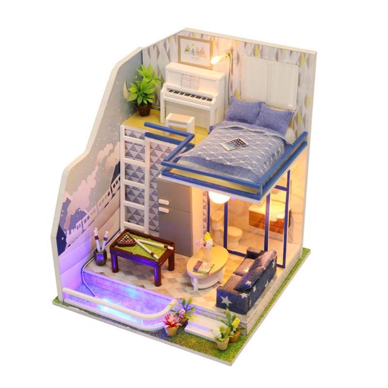 Faits À La Main créatifs Maison de Poupée En Bois maison de poupée miniature à monter soi-même Jouet Modèle avec Meubles En Bois Maison Jouets Cadeaux D'anniversaire