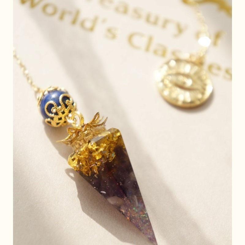 Orgone Pendant Spirit Pendulum For Women Divination Pendant Energy Converter Metal Ling Amethys Purple quartz Crystal