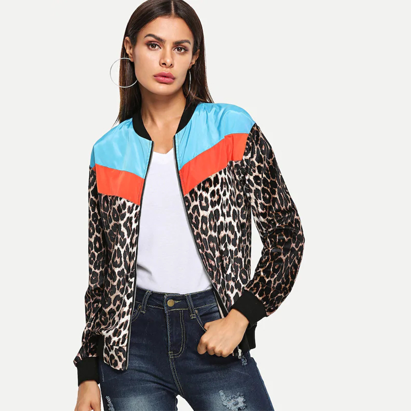 Fashion Women Bomber Jacket Leopard Print Color Block Splice Long Sleeve Outerwear 2019 New Autumn Thin Coats Ovecoat