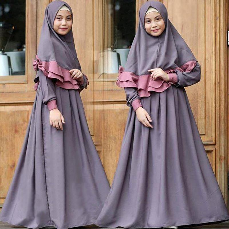 Image 2 - 2019 Children Abaya Kids Islamic Dresses Muslim Girl Dress Kaftan  Moroccan Hijab Robe Dubai Bangladesh Vestido Uae Abayas SetsIslamic  Clothing