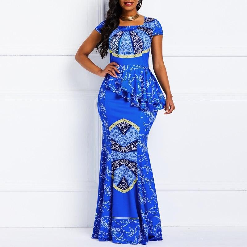 Women Maxi Dresses Casual Elegant Blue Office Lady Party Mermaid Square Neck High Waist Falbala Print Female Plus Size Dress