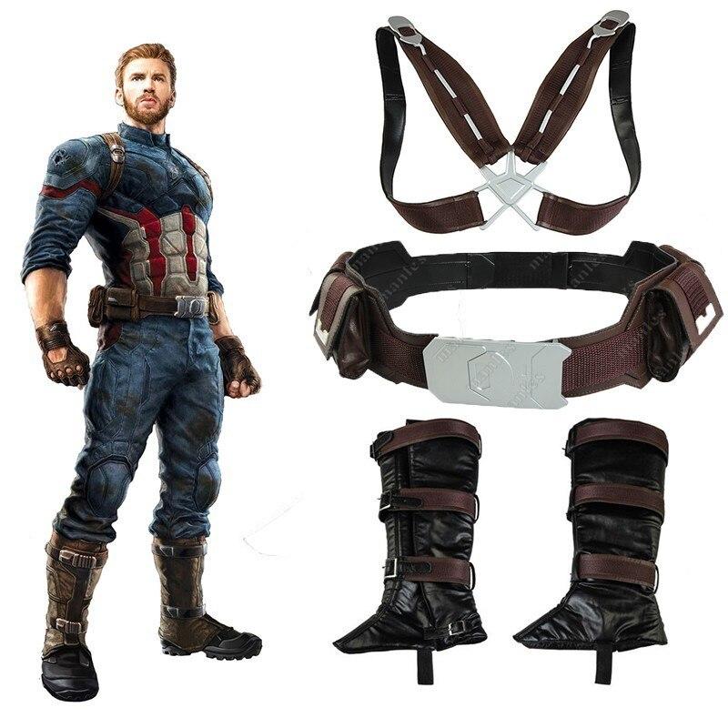 Avengers Infinity Guerre Costume Captain America Steve Rogers Cosplay Superhero Halloween Adulte Hommes Gants couvre-chaussures ceinture de maintien