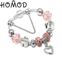 HOMOD New Fashion DIY Charm Bracelet Apples Beads Heart Pendant Brand For Women Jewelry Christmas Eve Gifts