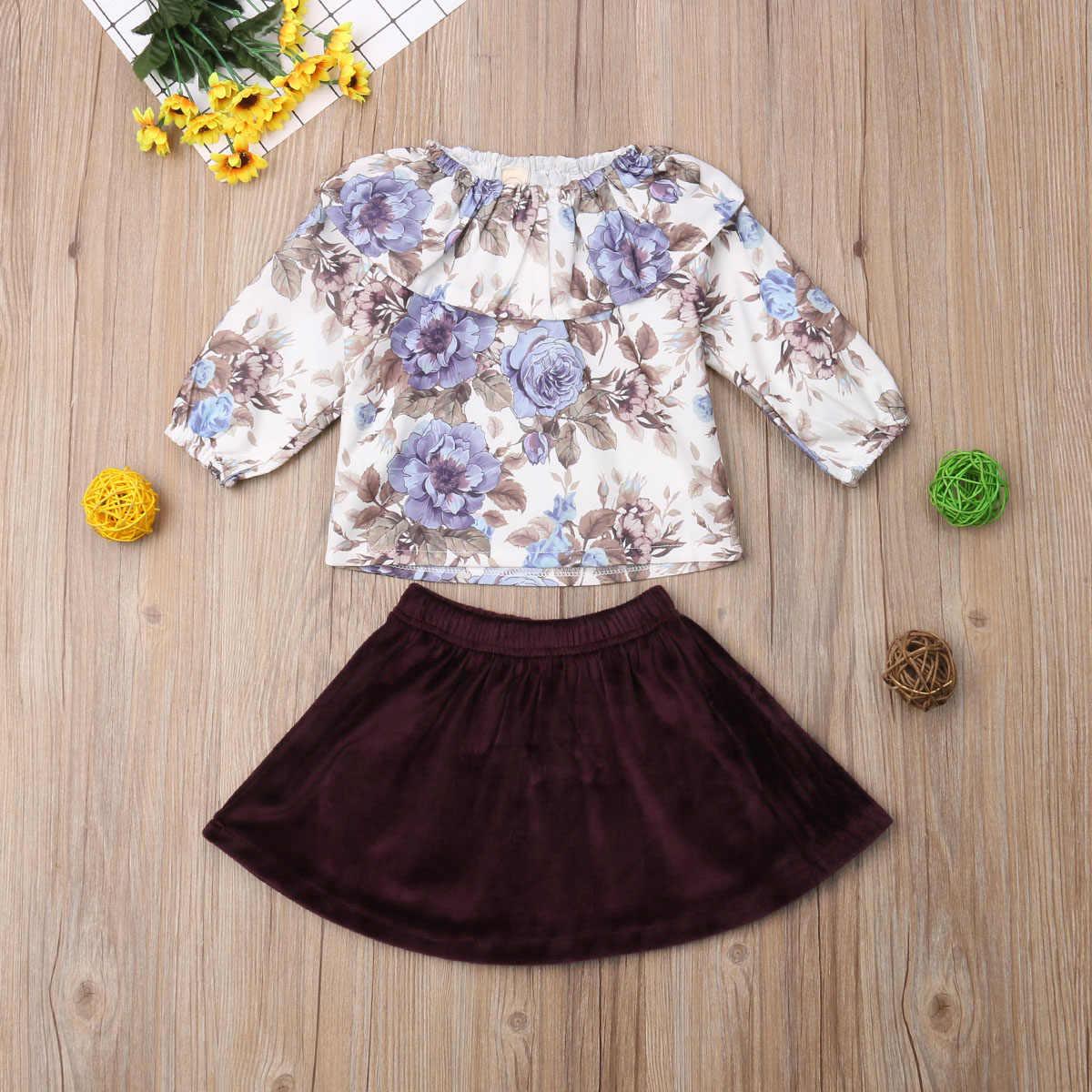CANSI 2019 ラブリー女の赤ちゃんドレス衣装 2 ピース人形襟トップ tシャツ + スカートセット幼児服セット 6 メートル-4 t