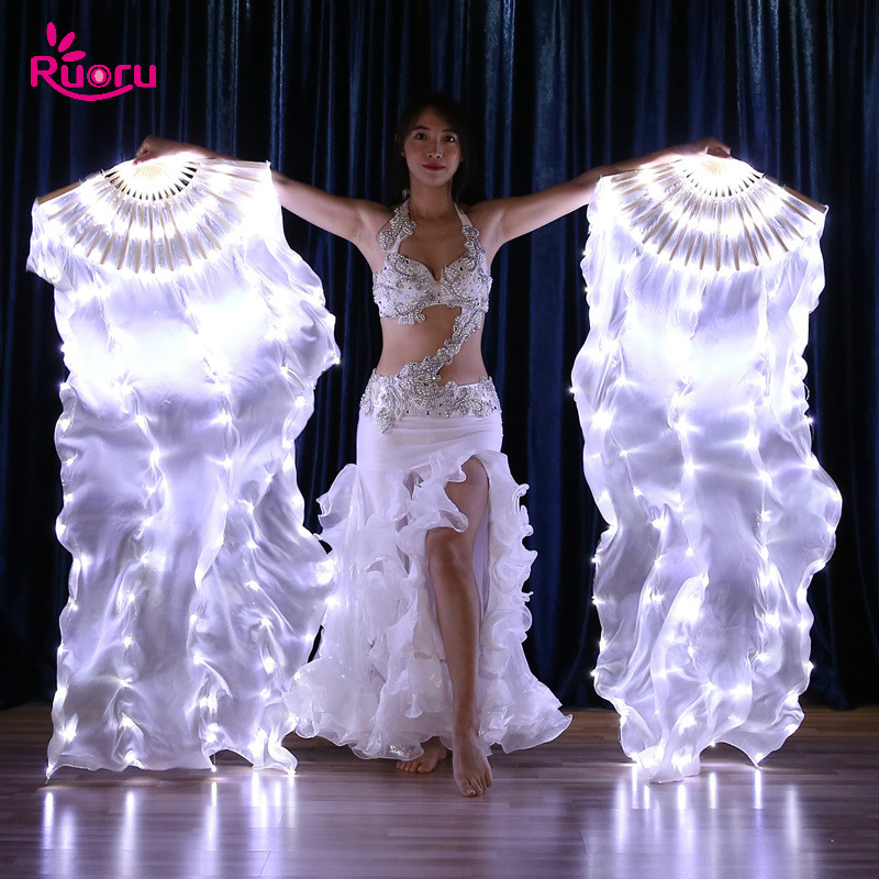 Ruoru 2 Pieces = 1 Pair Belly Dance Led Silk Fan Veil 100% Silk 180cm White Rainbow Belly Dance Fan Veil Stage Performance Props