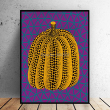 100%Hand Painted Yayoi Kusama Purple Pumpkin Canvas Art Oil Painting On Wall for Home Decor Picture