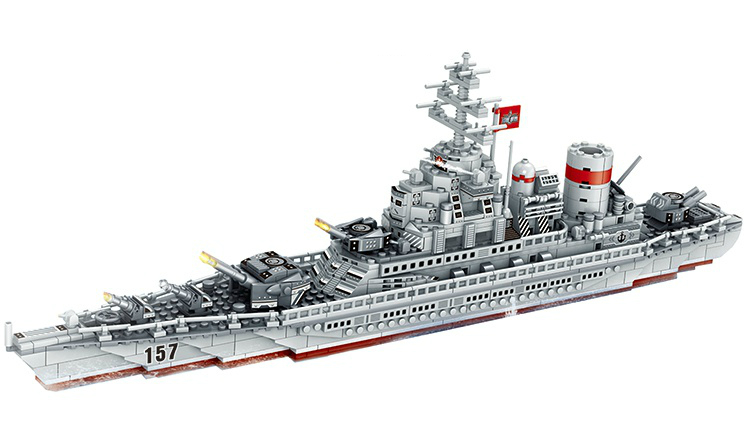 820pcs 2WW Military Series Warship Building Blocks Battleship Model Bricks Toys For Chlidren