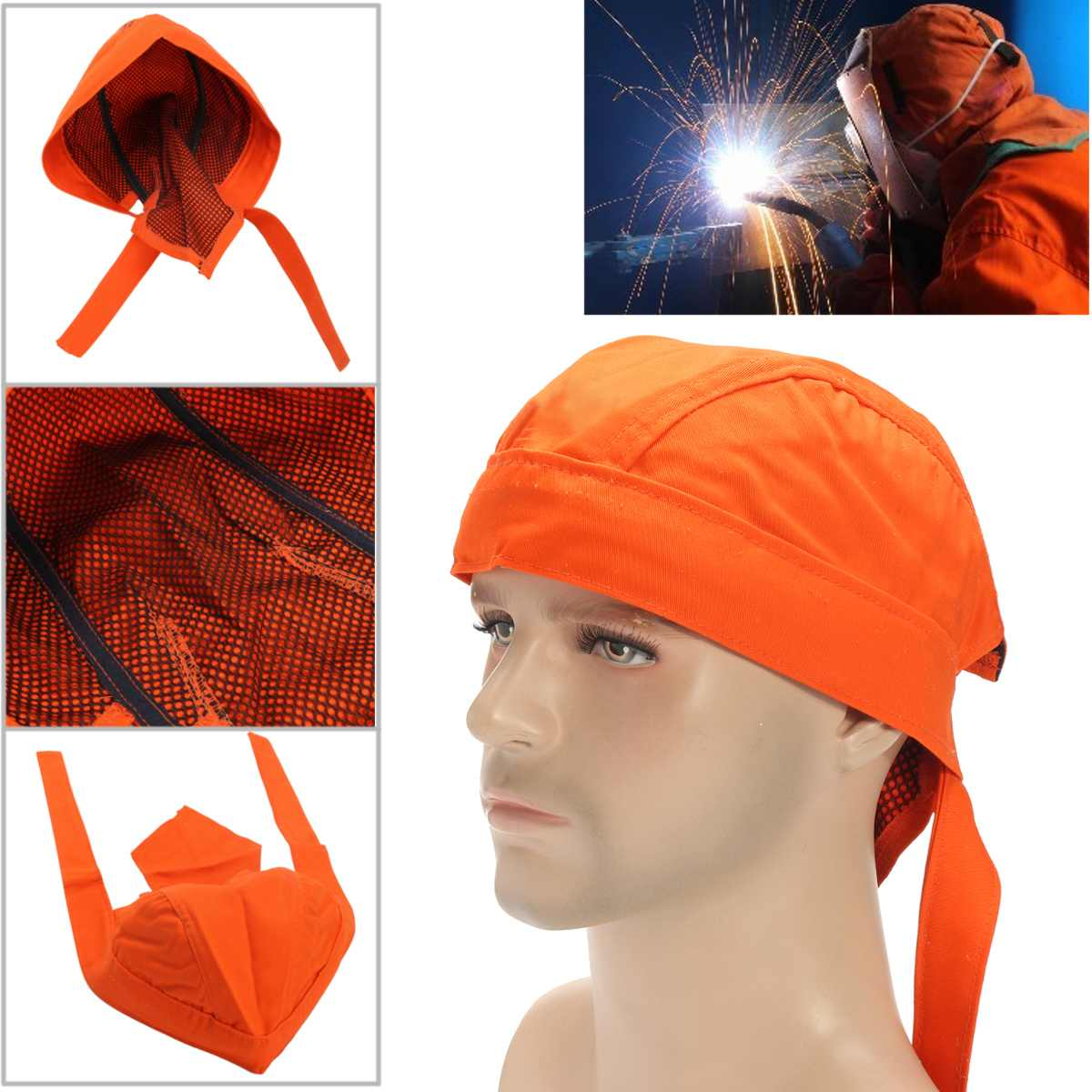 Welding Cap Welders Protective Hat Welding Helmet Cotton Cover Cap Scarf Wear Flame Retardant Fashion Adjustable Bandana Type