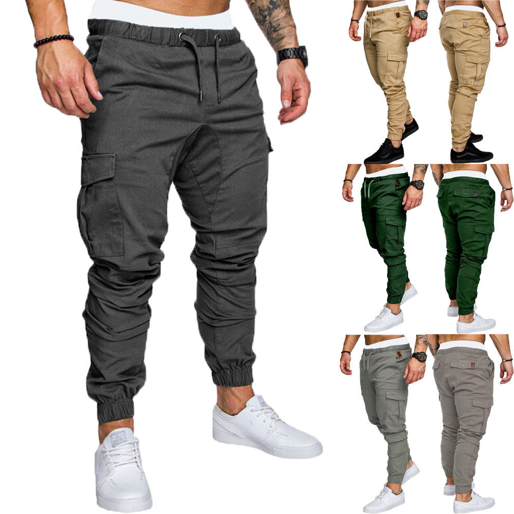 2019 Hot Fashion Mens Skinny Fit Straight Leg Trousers Men Casual Pencil Jogger Cargo Pants With Pockets M-XXXL(China)