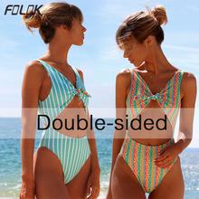 One Piece Swimsuit 2019 Striped High Cut Monkini Sexy Swimwear With Tie TOP Swimming Suit For Women Bathing Suits