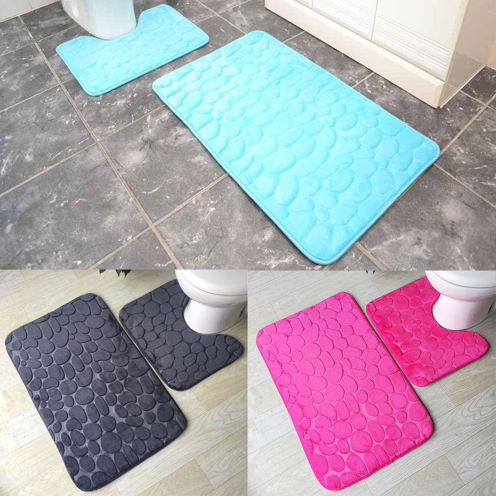 Memory Foam Bath /& Pedestal Mat Sets Non Slip Soft Luxury Bathroom Rugs Gray Pad