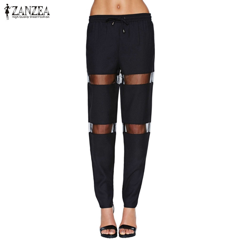 Women Pants ZANZEA 2019 Fashion Casual Slim Mid Elastic Waist Trousers Black Summer Patchwork Mesh Brand Female Pants Plus Size