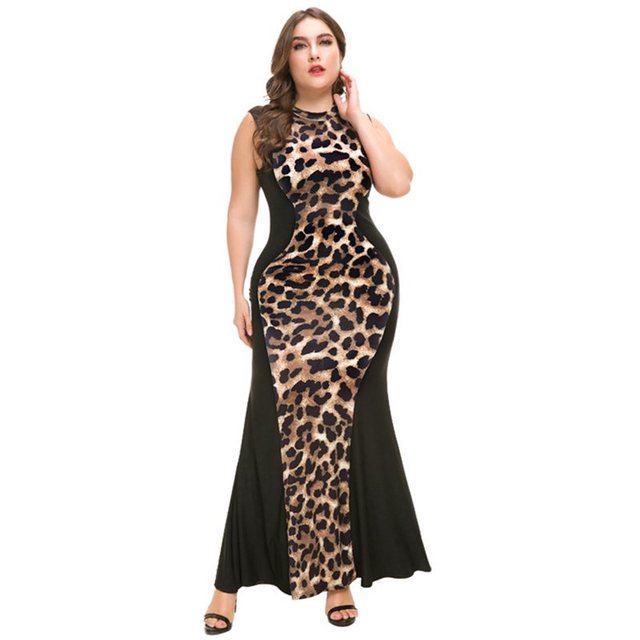 Leopard Print Mermaid Bodycon Dress Women Plus Size Fashion Ladies ...