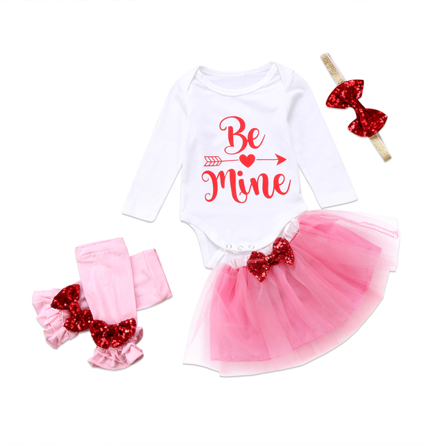 31b57a01a Infant Baby Girls Valentines day outfit Clothes Bow Letter Romper ...