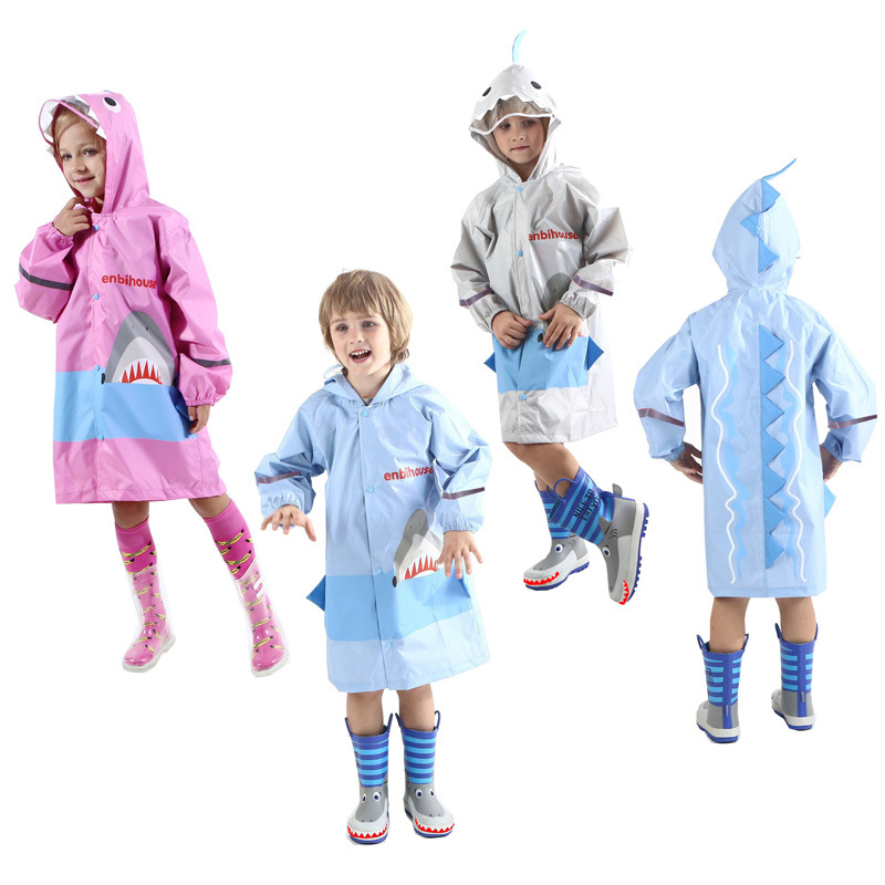 US $17 99 10% OFF|Aliexpress com : Buy INS Hot Selling enbihouse Children  Raincoat Poncho Shark Raincoat Poncho 3D Stereo Origional Products Without