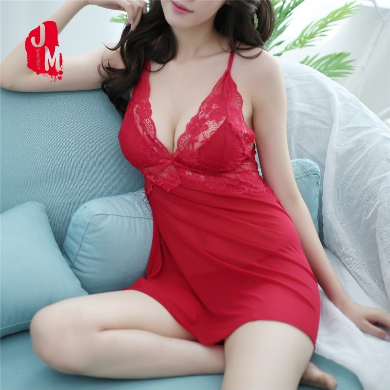 Silk Lace Women Sleepwear Ladies Sexy Lingerie Sleepdress Babydoll Nightdress   Nightgown     Sleepshirt   Homewear Silk   Nightgown   Women