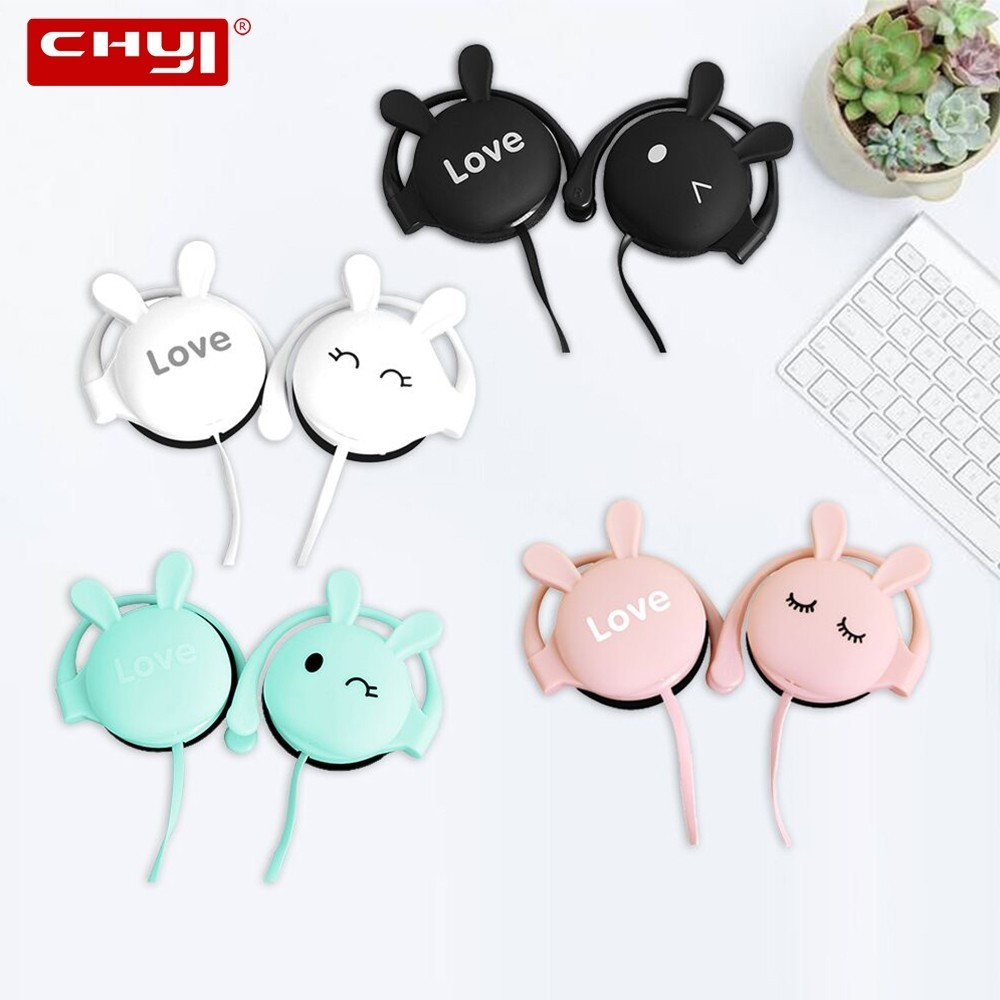 CHYI Rabbit Cartoon Stereo Earphone Headphone With Mic 3.5mm Ear-hook Sports Headset For Girls Kids Xiaomi Mobile Phone Gift Mp3
