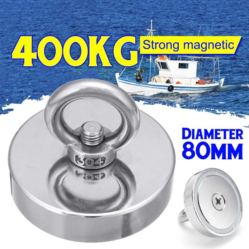 400 KG D80mmStrong puissant rond néodyme aimant crochet de récupération aimant de pêche en mer équipements titulaire avec anneau
