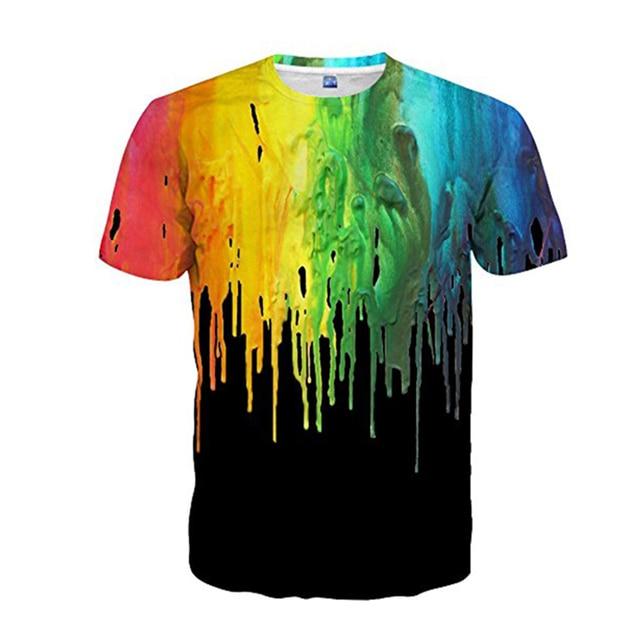 Hemiks hombres camiseta de verano cuello redondo de manga corta 3D acuarela colorida pintura camisetas Casual para hombres camisetas Streetwear