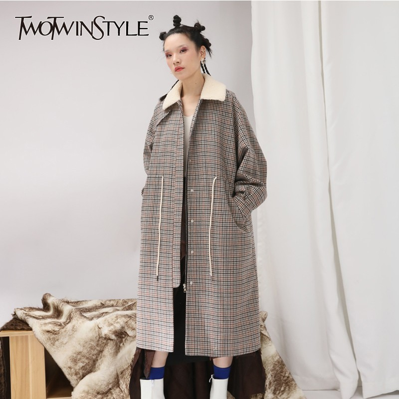 TWOTWINSTYLE Plaid Tweed Coats Female Patchwork Fur Collar Long Sleeve Drawstring Women s Coat Oversized Autumn