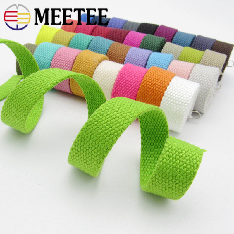8Yards Meetee 2.5cm Canvas Cotton Webbing 1.5mm Thick Strap Bag Clothes Ribbon Backpack Belt Safety Band DIY Pet Rope Sew Tapes