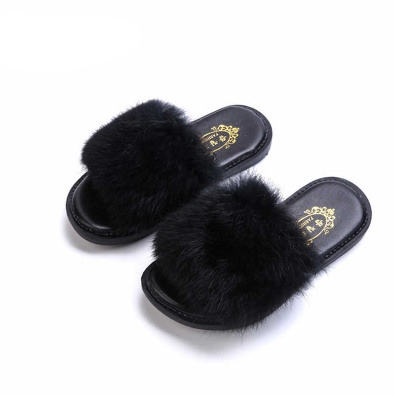 Child Girls Slipper Faux Fur Sandal  Warm Princess Flat Kids Shoes Home Plush home Shoes Children Baby Velvet Shoes