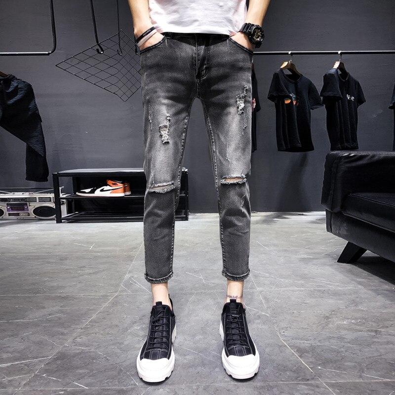Hip Jeans Mode Pantalon Rétro Gray De Denim Tear Lavage Mince Homme Cow Trou Skinny Mâle Hop Hommes Nouveaux Streetwear Vêtements boy Printemps qgwS4ZCA5