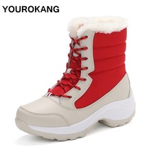 Women Shoes 2019 Winter Warm Female Snow Boots Fur Plush Platform Ankle Boots Waterproof Lace Up Woman Botas Footwear Big Size wetkiss winter leather women ankle boots round toe print footwear fur warm female boot straw weave platform snow shoes woman new