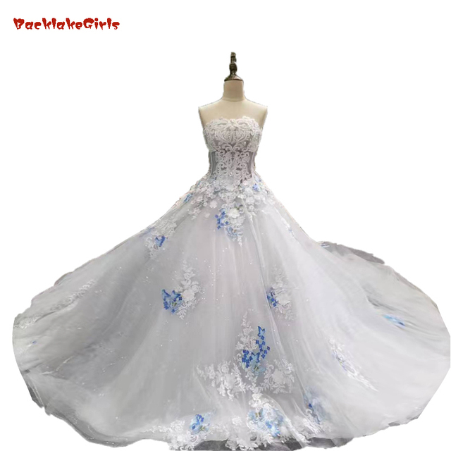 2018 Spring Summer Romantic Luxury Flowers Bow Lace Appliques Glitter Tulle  Tiffany Blue Wedding Dresses White cce8c9d0feb9