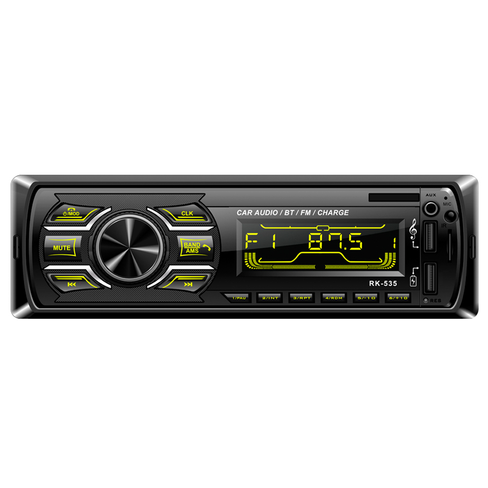 One Din Car Radio Fm Dc 12V Fixed Panel Car Audio Mp3 Wma Player Bluetooth Two Usb Charger Sd Aux Swc Remote 7388 Ic 535