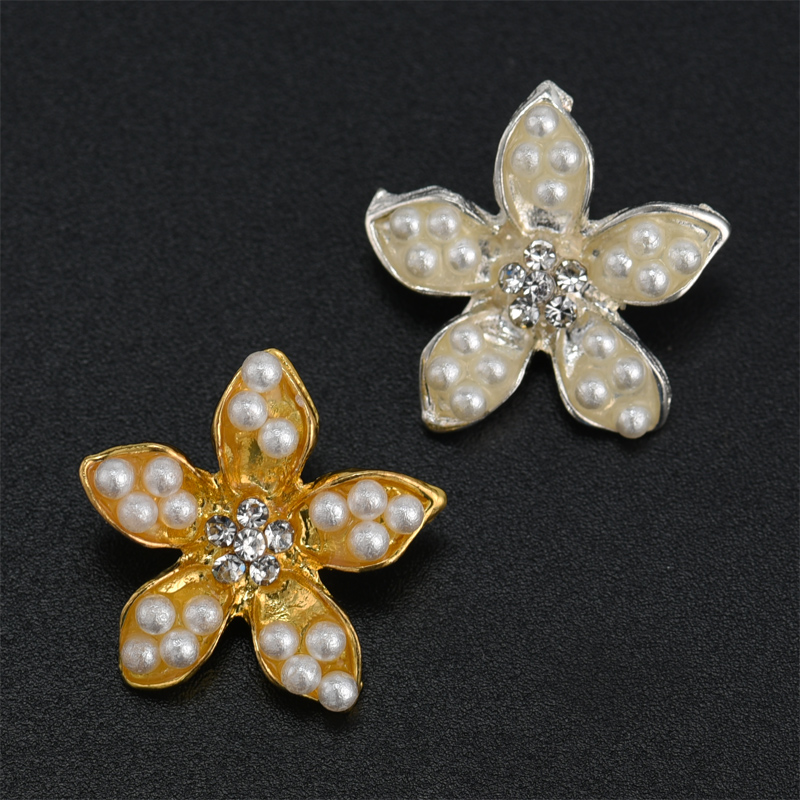 3 X Glitter felt flower embellishment 60 x 52mm Pink with pearl center