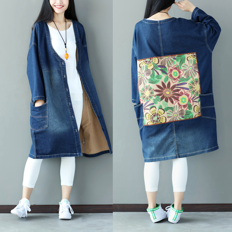 literary sticker printing trench coat O-neck patchwork long plus size denim trench coat for women cotton big pockets outwear