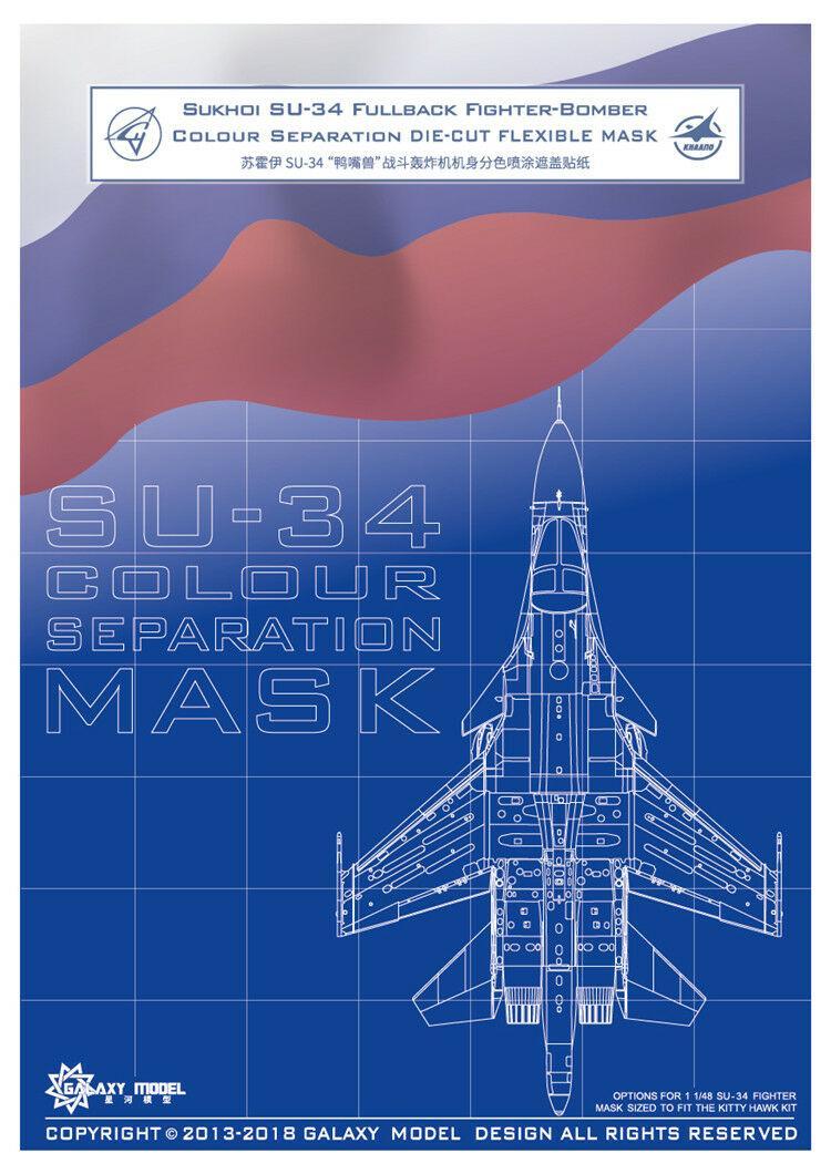 1//48 GALAXY D48007 SU-34 Colour Separation Flexible Mask fit Kitty Hawk 80141
