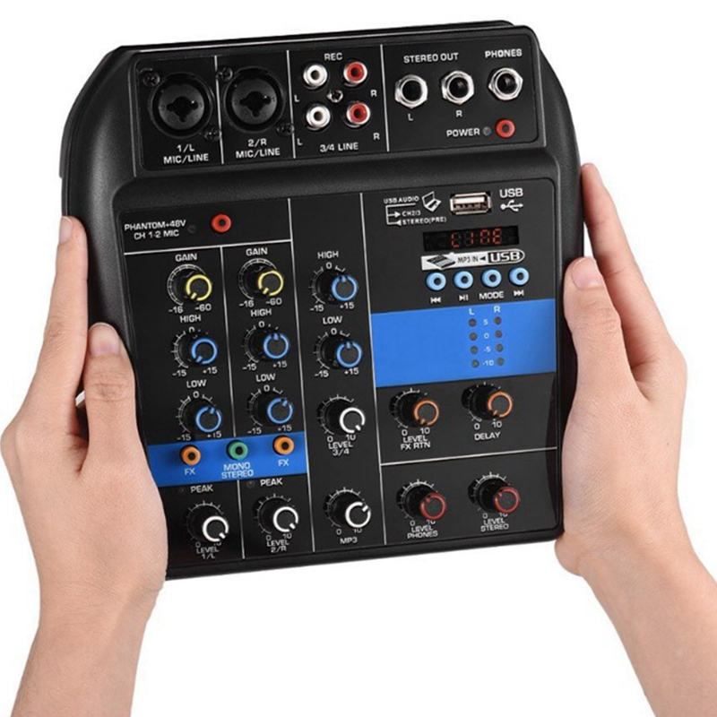 Hot TTKK Portable Bluetooth A4 Sound Mixing Console Audio Mixer Record 48V Phantom Power Effects 4 Channels Audio Mixer With U