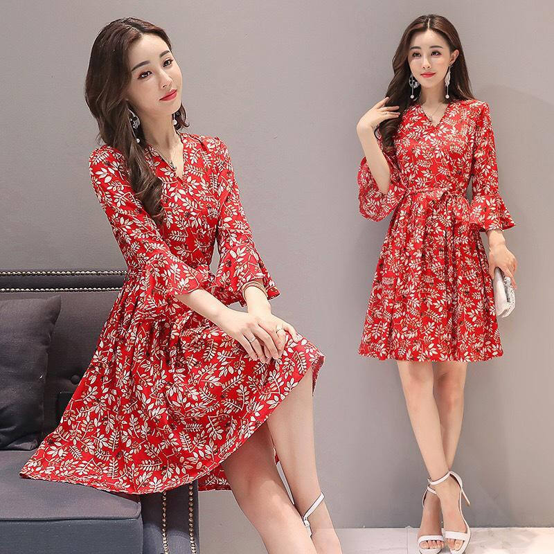 MISSKY 2019 New Summer Women Dress Medium Sleeve V Neck Floral Printed Long Fashion Dress