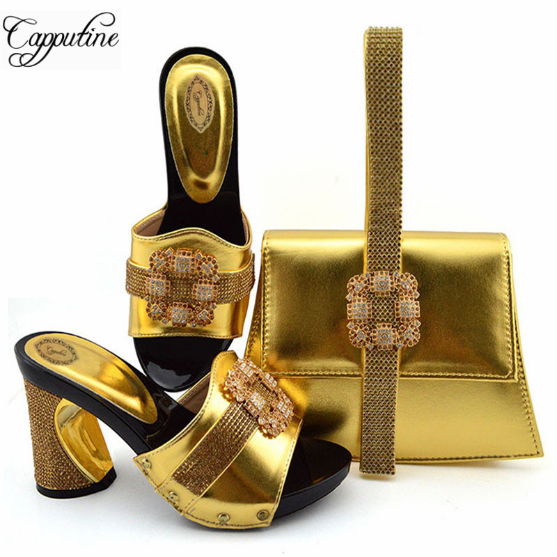 Capputine  Nigerian Style Rhinestone Shoes And Bag Set African Ladies Gold Color Pumps 9CM Shoes And Bag Set For Party DressCapputine  Nigerian Style Rhinestone Shoes And Bag Set African Ladies Gold Color Pumps 9CM Shoes And Bag Set For Party Dress