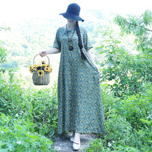 Vintage Ethnic Women Floral Print Loose Cotton Linen Dress Robe A-line Vestidos