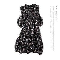 Шелковое платье с принтом в богемном стиле, платье трапециевидной формы, новинка 2018 года, женское летнее платье для подиума, высокое качеств