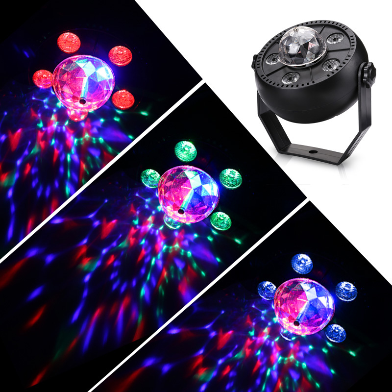 6 Led 2 In 1 Stage Magic Light Auto Sound Active Rgb Rotating Magic Disco Ball Multiple Color Light Effect For Ktv Party Club Dj Stage Lighting Effect     -