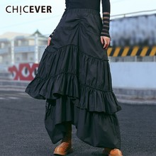 CHICEVER Autumn Winter Skirts For Women Elastic High Waist Loose Oversize Irregular