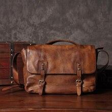 Vintage جلد طبيعي حقيبة ساعي بريد للرجال حقيبة كتف جلدية الرجال حقيبة كروسبودي الذكور الرافعة حقيبة الترفيه حقيبة يد بني رمادي