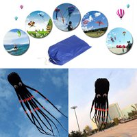 8m 3D 26ft Single Line Black Octopus POWER Sport Huge Soft Kite Outdoor Toy Software Power Sport Flying Kite Outdoor Easy To Fly