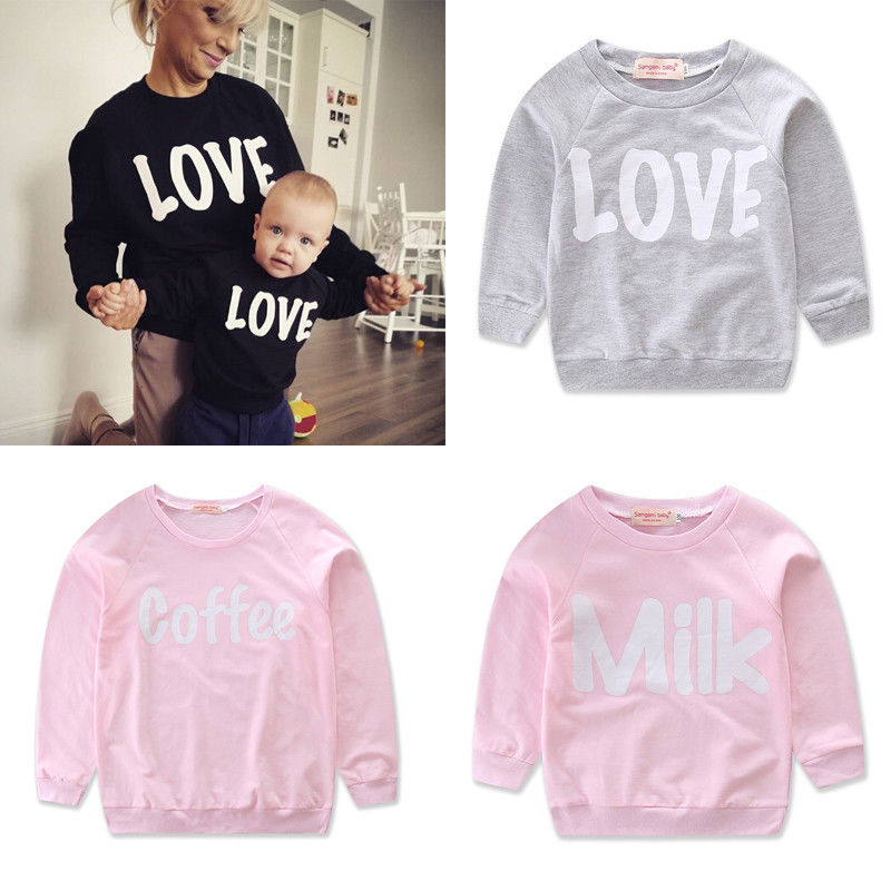 739c0dc3e63 Detail Feedback Questions about 2018 Multitrust Brand Fmaily Matching Mom  Kid Boy Girl Long Sleeve Sweatshirt T Shirt Tops Love Letters Autumn Spring  ...