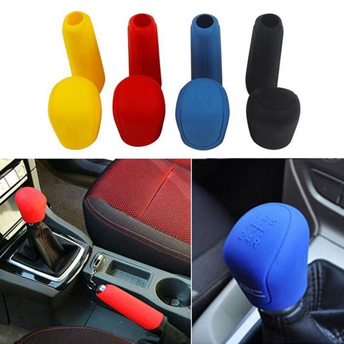 New Red/blue/black 2pc/set Hand Brake Set Universal Car Handbrake Sleeve Silicone Gel Cover Anti-Skid Auto Parking Brake Cover