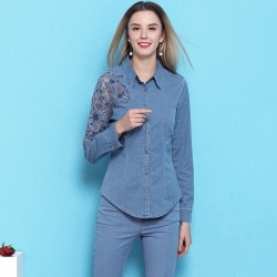 2019 spring and summer new arrival women's fashion hollow out denim shirt long-sleeved slimming casual OL blouses NW19B6033
