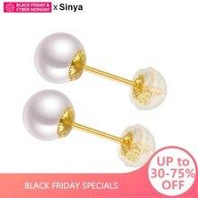 86c483d106d4 Sinya clásica 18 K oro pendiente de la perla Natural perlas redondas perlas  pendiente en Au750 de oro para las mujeres las niñas.