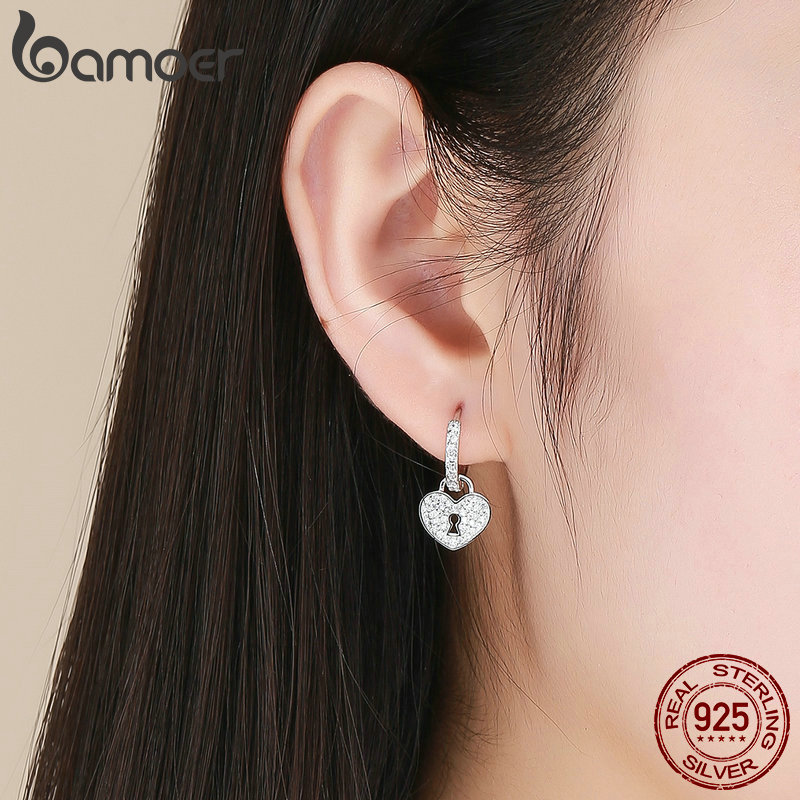 BAMOER Classic 100% 925 Sterling Silver Love Heart Shape Key Lock Drop Earrings for Women Wedding Engagement Jewelry SCE577